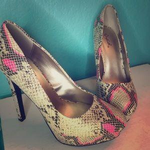 Brown and Pink snake skin stilettos